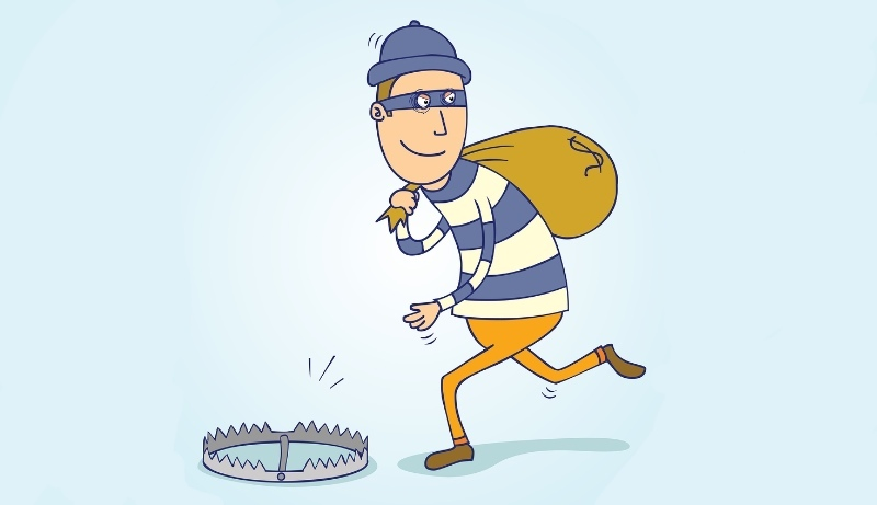 Cartoon of burglar sneaking away with sack on his back