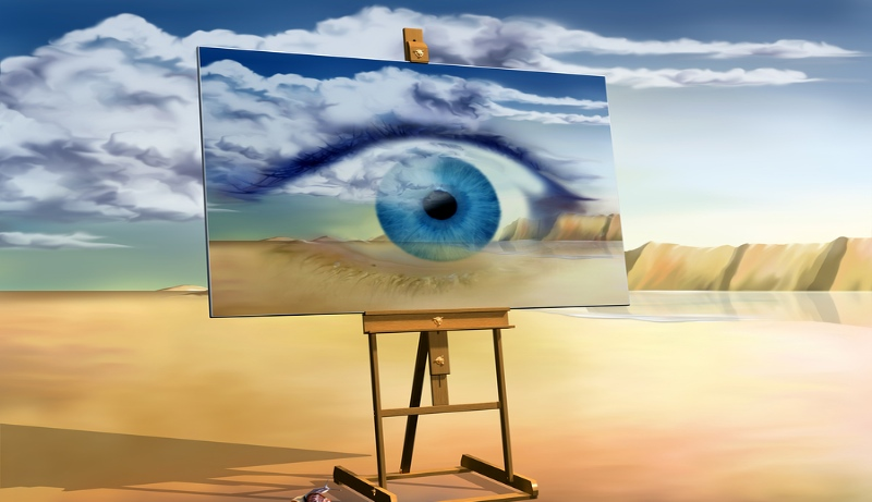 Canvas on easel of eye for the future