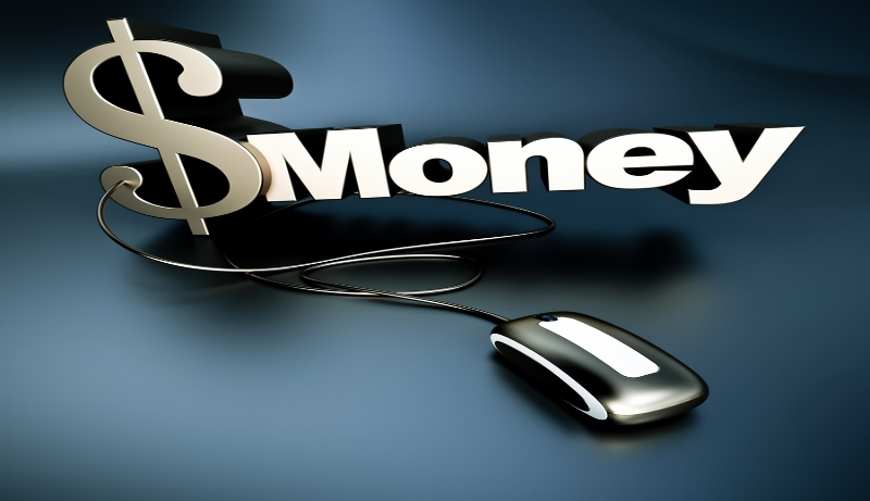 Dollar sign with computer mouse with text that says Money