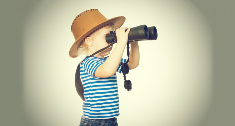 Toddler in Safari Uniform with Binoculars