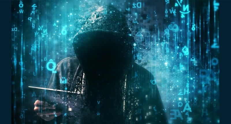 Hacker With Abstract Blue Background